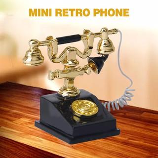 💗Sunei💗Metal Black + Gold Miniature Retro Rotary Phone Telephone 1/12 Dollhouse Decor