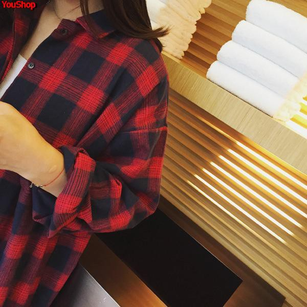 Early spring women's shirt plaid black red 慵 lazy wind short sunscreen ins loose Korean version of the Hong Kong...