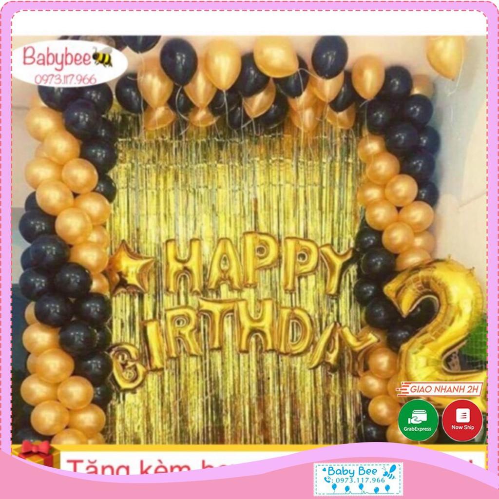 Combo 2 rèm kim tuyến, bóng chữ Happy birthday và 50 bóng nhũ (chat với shop để chọn màu)