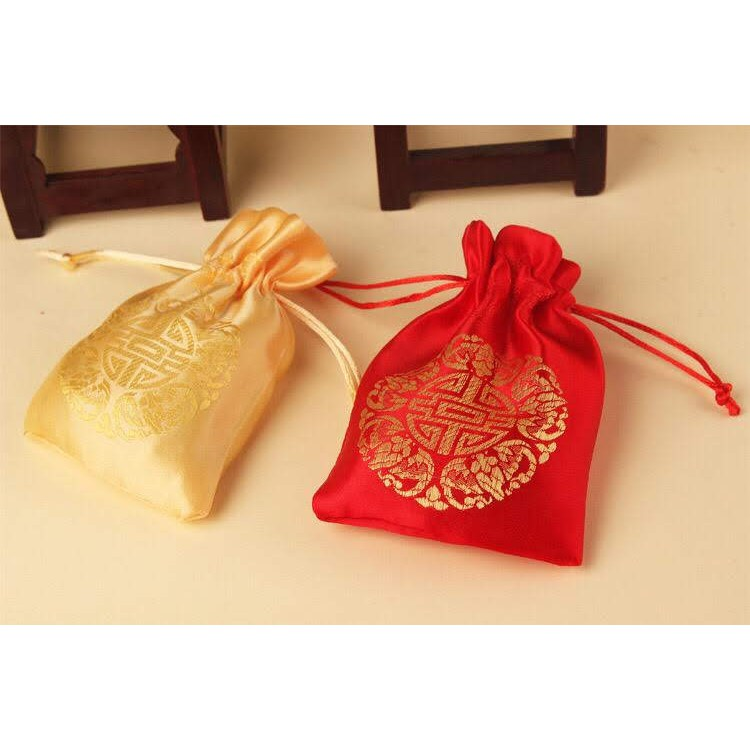 Túi vải gấm song hỷ có sẵn hàng đẹp