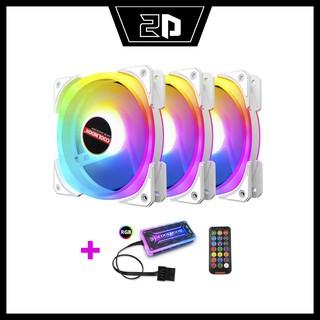 Quạt Coolmon U4 LED Ring và tâm A-RGB (Bộ đầy đủ Hub và Remote)