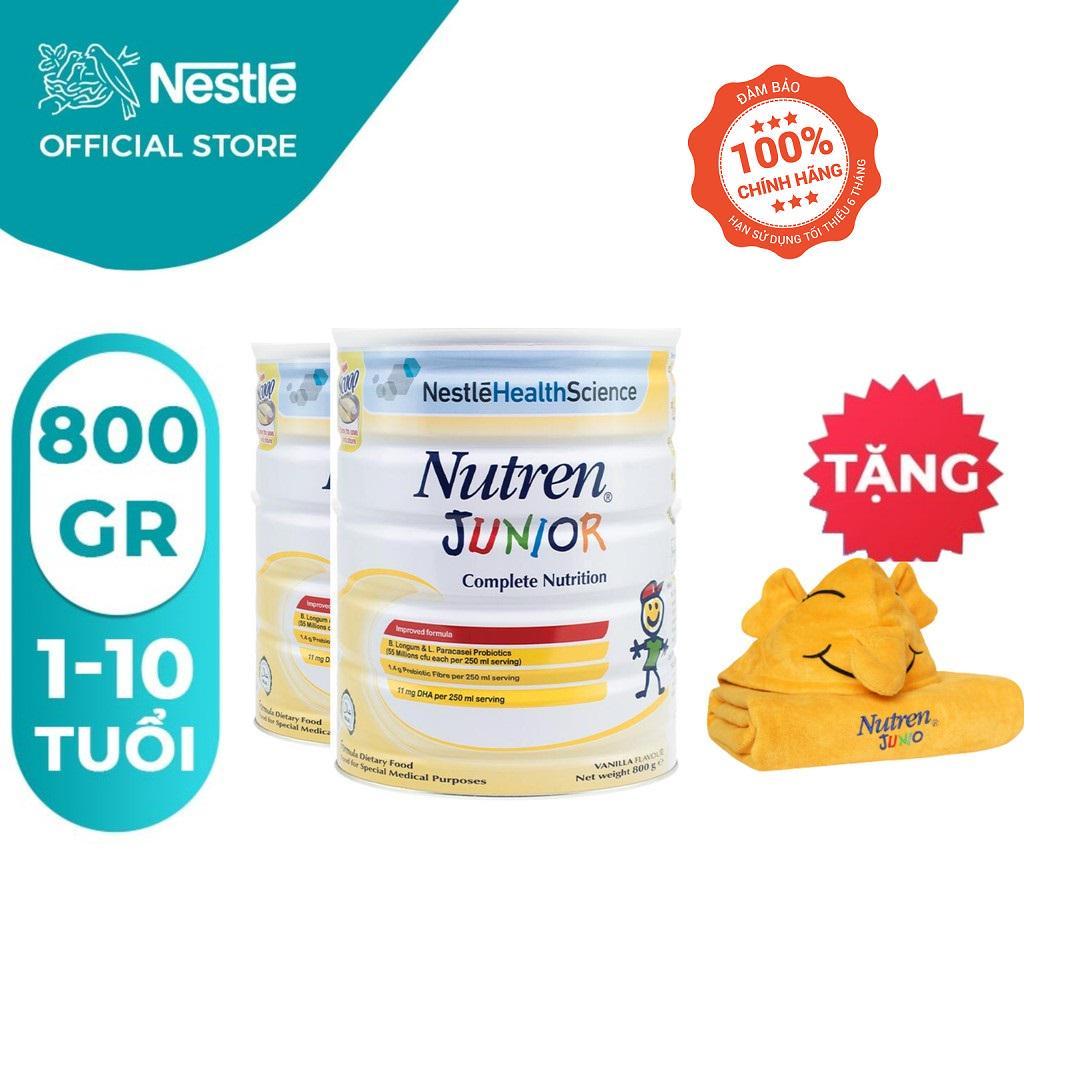 Combo 2 lon Sữa bột Nutren Junior 800g/lon [Tặng Khăn Choàng Tắm]