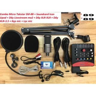 combo bộ livétream sound card icon uopd pro. mic takstar sm8m.chân kẹp màng lọc đủ phụ kiện kèm theo