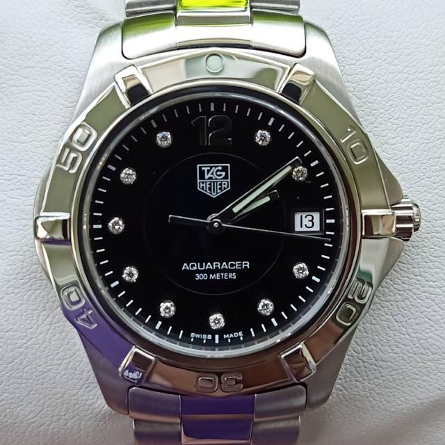 Tag Heuer Aquaracer Quartz Diamond Mens Black Dial WAF111C