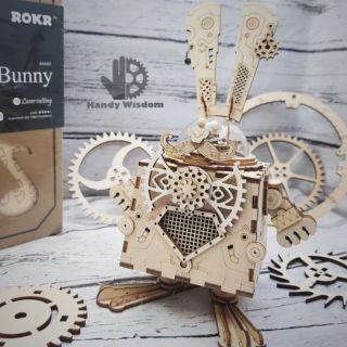 Mô hình lắp ghép gỗ ROKR – Hộp nhạc thỏ Bunny
