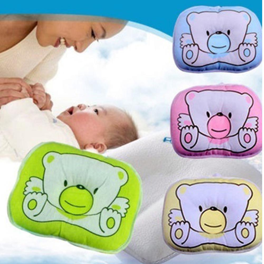 Bear Pattern Baby Pillow Cotton Blended Soft Newborn Flat Head Anti-roll Sleeping Positioner Shaping