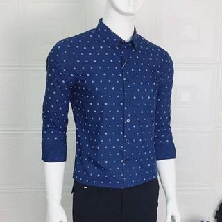 Áo sơ mi nam dài tay họa tiết, xanh than, kiểu phối mới tinh tế, màu xanh đậm chấm bi, phong cách Hàn quốc trẻ trung