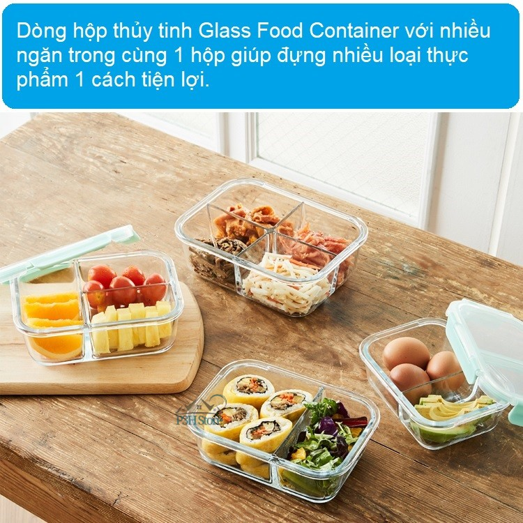 Hộp thủy tinh 2 ngăn Lock&Lock Glass Food Container LLG456 LLG457