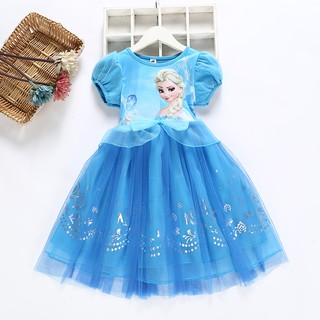 Đầm Công Chúa Elsa Anna Phối Lưới Đính Nơ Thời Trang Mùa Hè Cho Bé Gái
