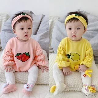 Bộ áo liền quần tay dài in hình trái cây kèm băng đô cho bé gái