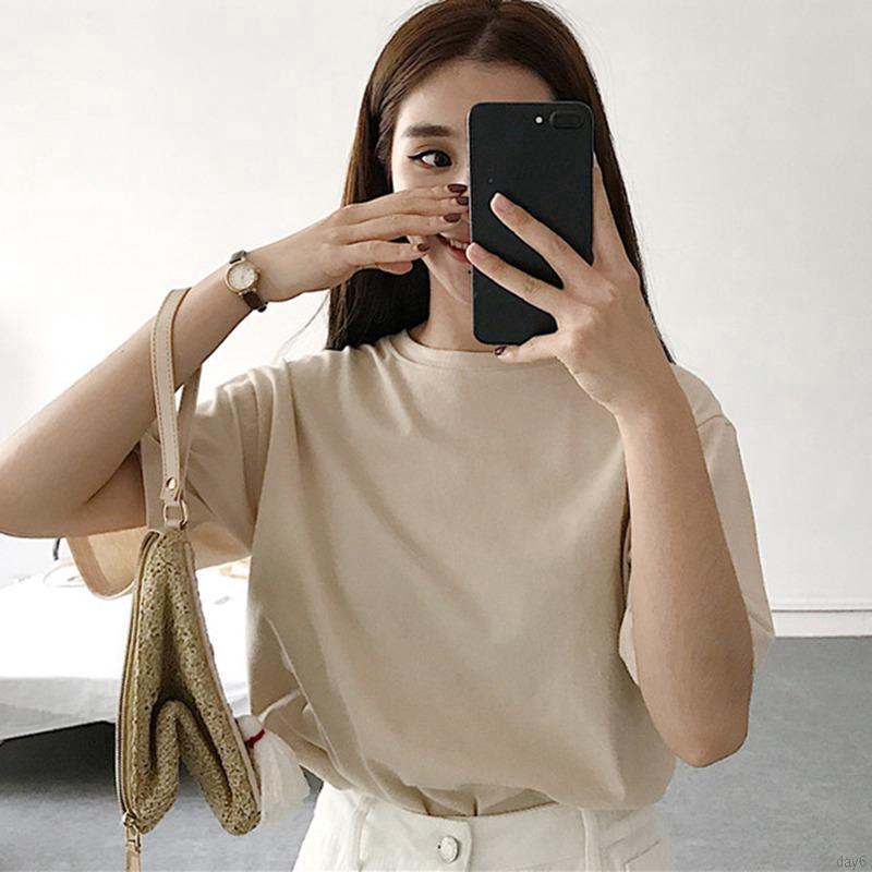 Áo thun nữ ngắn tay màu trơn day6
