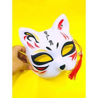 mặt nạ hóa trang nhật bản – mặt nạ cáo vẽ mèo nửa mặt có tua rua và chuông mã CBO92 Iô tô ke