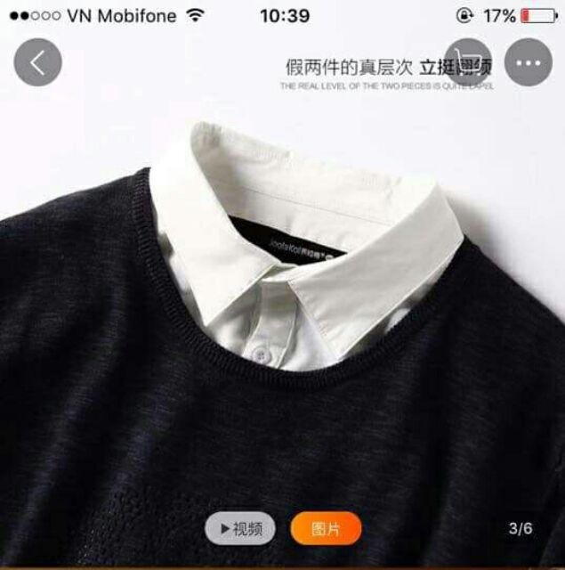 Áo len QC phối cổ sơ mi trắng size M (50_60kg)