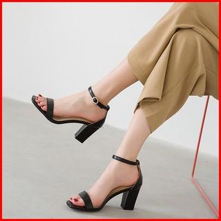 Sandal cao gót nữ đế vuông 7 phân mũi vuông da bóng bít gót quai ngang GMV01
