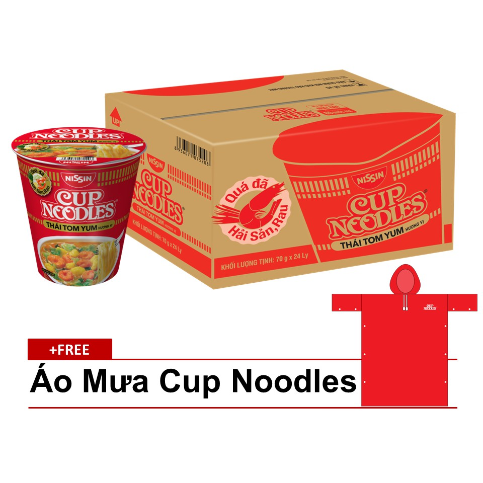 Mua 24 Ly Mì Cup Noodles Thái Tom Yum Tặng 1 Áo Mưa Cup Noodles