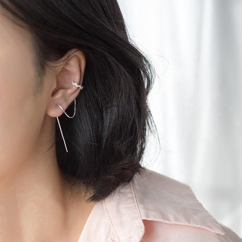 Bông tai chuỗi bạc hình mặt trăng dành cho nữ