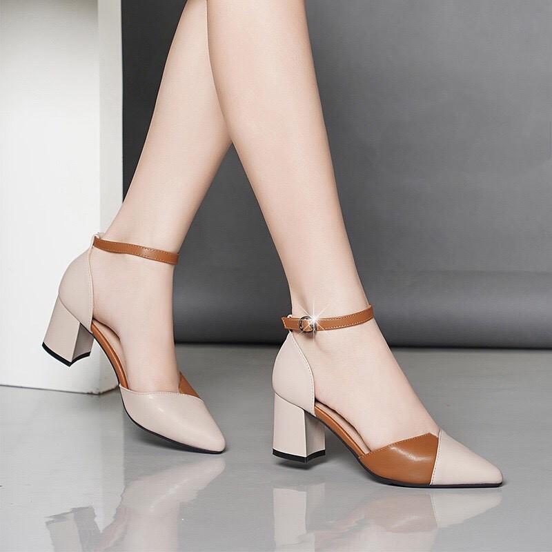 Giày cao gót vuông 7p kem mềm phối màu cực xinh