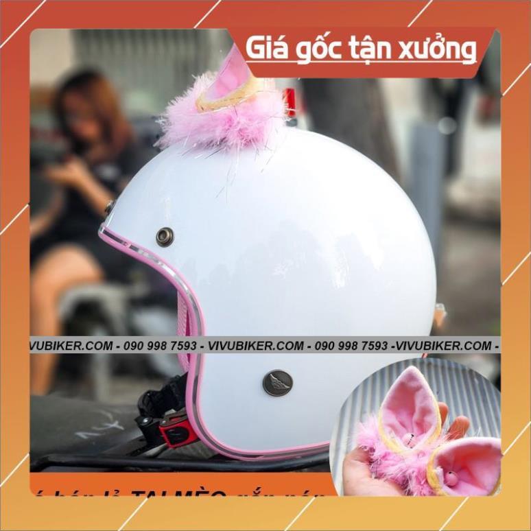 [Giống ảnh] Mũ bảo hiểm 3/4 tai mèo FungFing trắng lót hồng - Nón bảo hiểm màu trắng hồng kèm tai thỏ Fung Fing