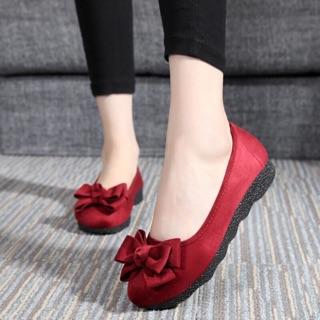 Freeship 99k toàn quốc-Giày búp bê nữ đính nơ dễ thương xinh xắn cực kỳ êm chân sz36 màu Đỏ đô thumbnail