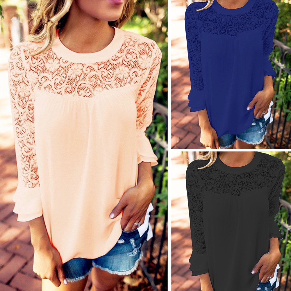 d8e747ce1c90 For Women Girls Summer wear Lace Stitching thin Long Ruffle Sleeve Round  Collar Solid Color Loose Chiffon Shirt Blouse