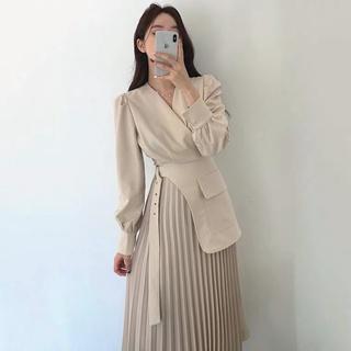 Váy Vest Dài Kèm Đai Thắt Eo Xếp Ly Quảng Châu Cao Cấp