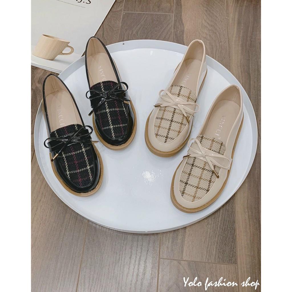 Giày lười slip on nữ phối dạ đính nơ thời trang hàng cao cấp chuẩn đẹp-GL15