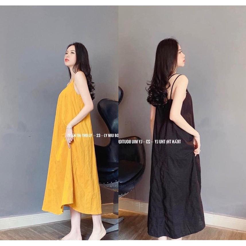 Váy hai dây đan lưng chất vải đũi lụa mềm mịn siêu mát họa tiết trơn mặc đi biển