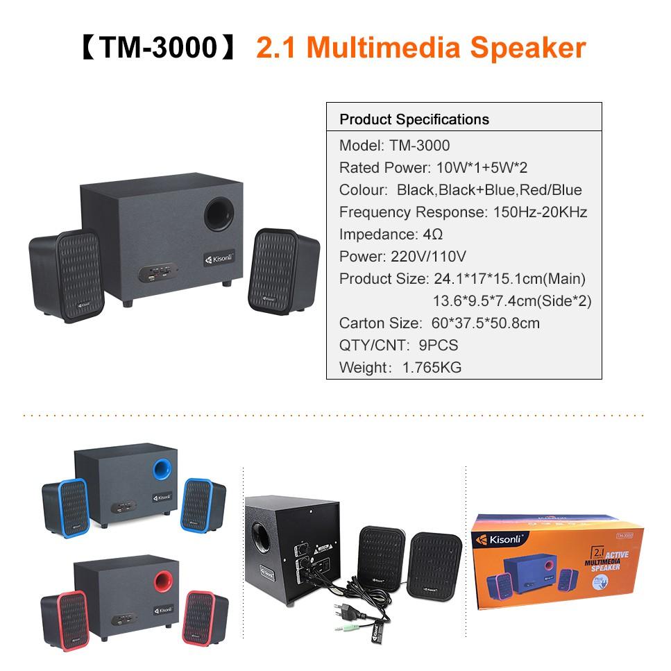 LOA VI TÍNH KISONLI TM-3000 /2.1 - 20W Màu : Đen