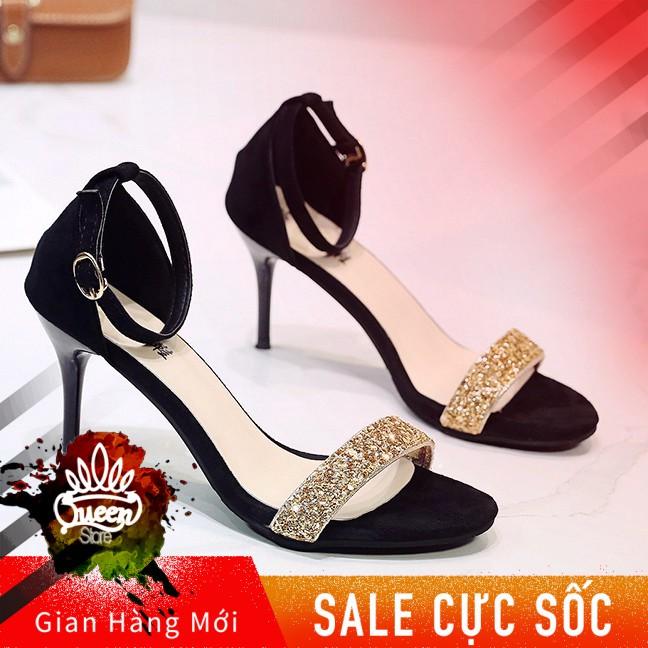 Giày Sandal Cao Gót QC35 Gót Nhọn  Khóa Cài Cổ Chân  Quai Ngang Đính Đá  Kiểu Dáng Nữ Tính Sang Trọng  Thời Trang 2019