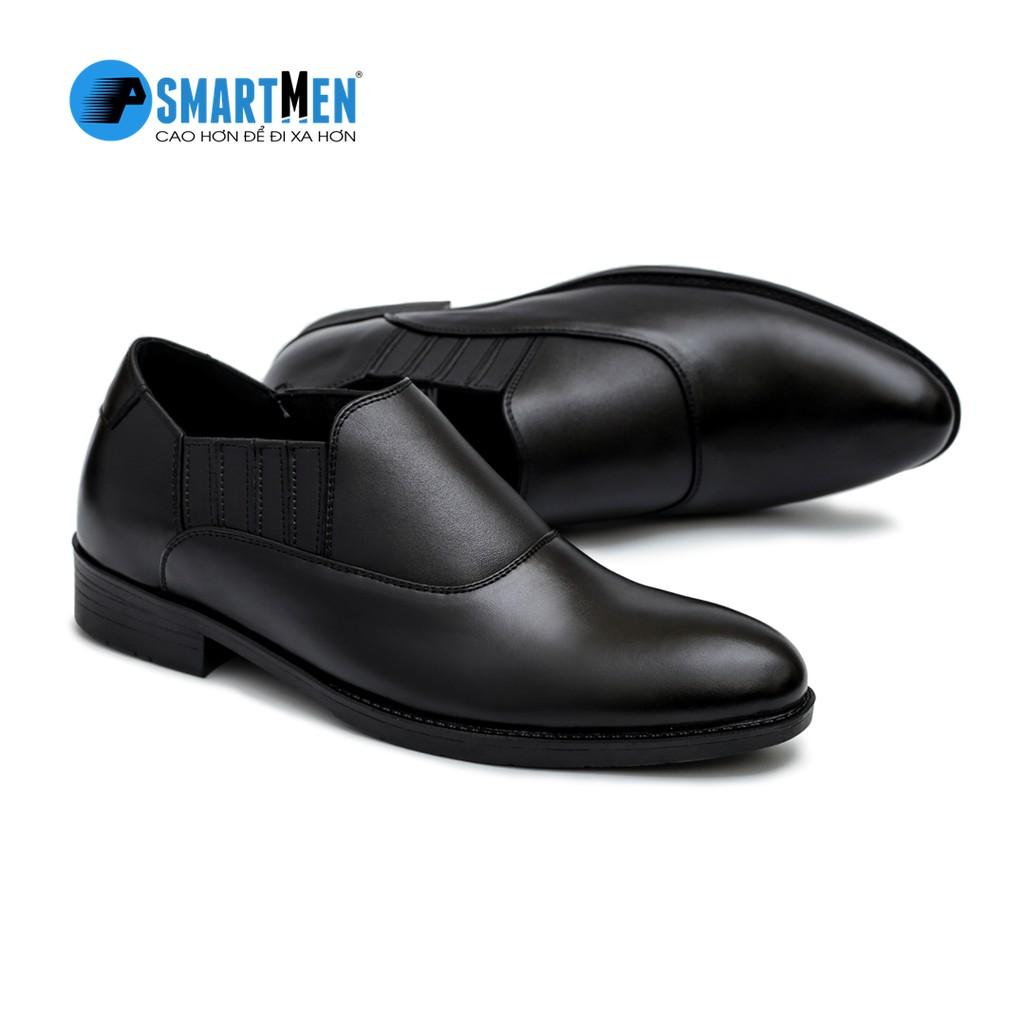Giày công sở da bò nguyên miếng tăng chiều cao SMARTMEN GL2-02 (Đen)