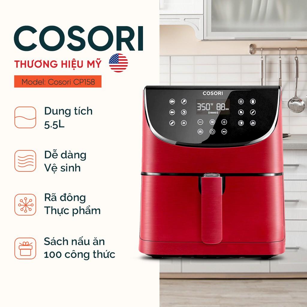 Nồi chiên không dầu Cosori CP158 đỏ (5,5 lít) - 11 chế độ nấu thiết lập sẵn - Bảo hành chính hãng 2 năm