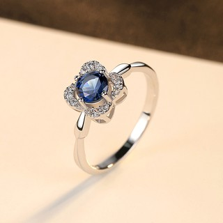 Hình ảnh Nhẫn Bạc Nữ Hình Hoa Bốn Cánh Đính Đá Xanh Lam N-2395-Bảo Ngọc Jewelry-3