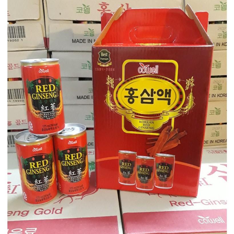 Nước Hồng Sâm Hàn Quốc Cowell Hộp 12 Lon - Túi Quà Biếu Nước Hồng Sâm Hàn Quốc Cowell Hộp 12 Lon - Túi Quà Biếu