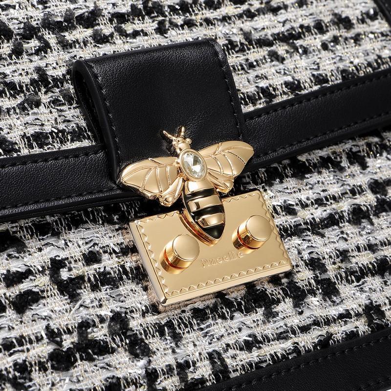 Túi xách nữ cao cấp Nucelle khóa ong phối dạ nỉ đen huyền bí MG73