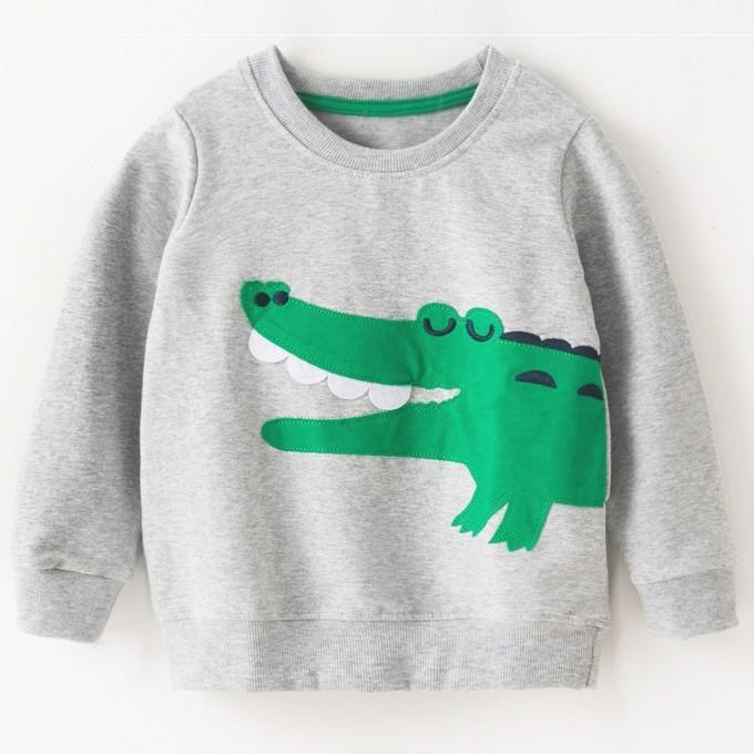 Áo phông dài tay bé trai cao cấp Malwee hoạ tiết cá sấu xanh ngộ nghĩnh