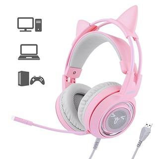 Tai nghe USB sound 7.1 chụp tai chuyên game Somic G951 Pink tai mèo