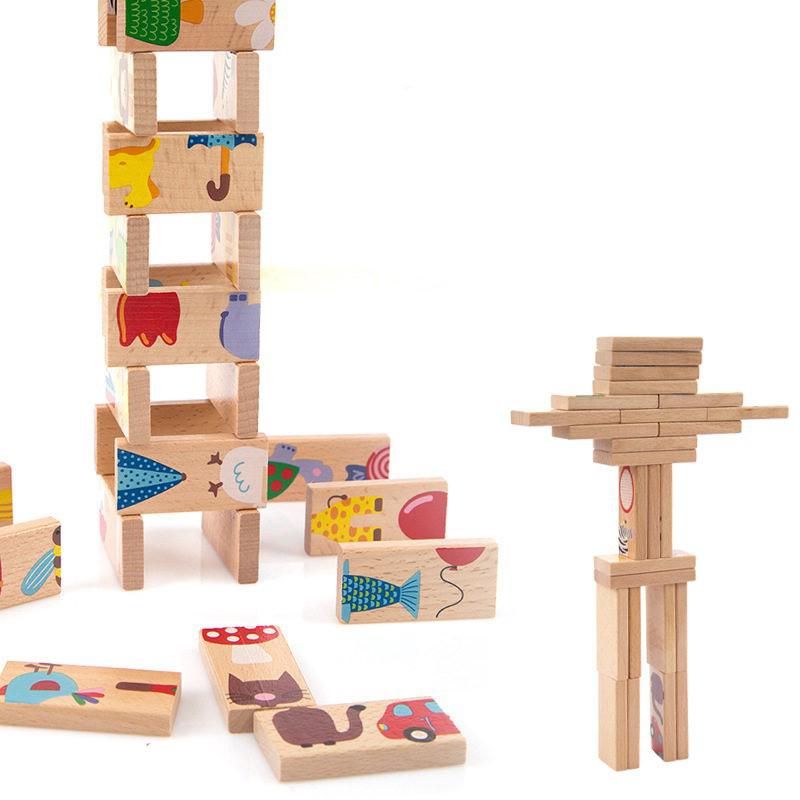 Wooden Domino Blocks Early Education Blocks Kids Toys Oyuncak Brinquedo Juguetes