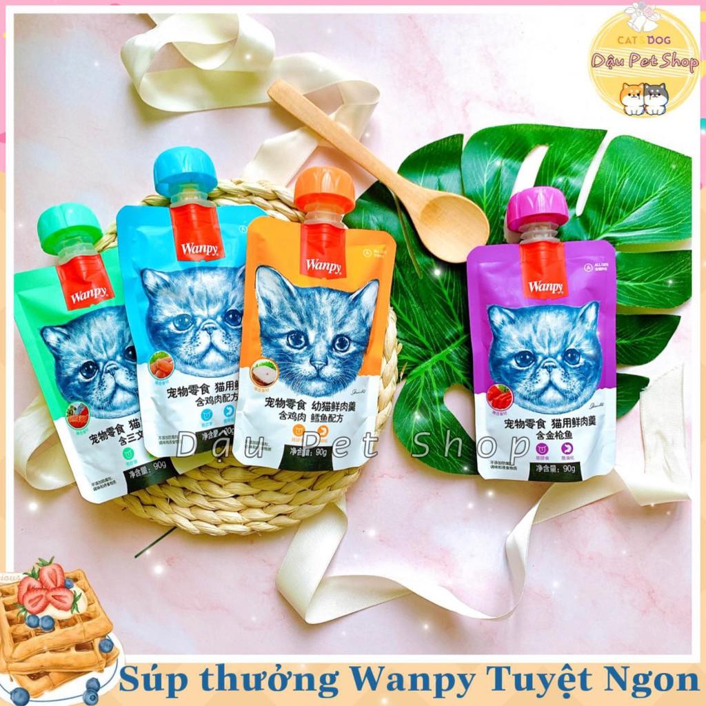Súp thưởng Wanpy cho mèo tuýp có nắp vặn 90g
