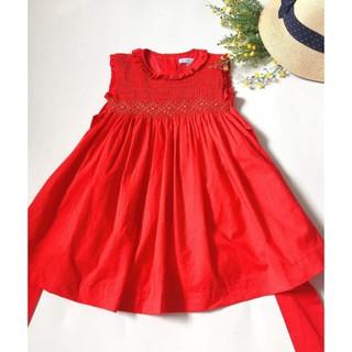 Đầm Smock đỏ cổ tròn