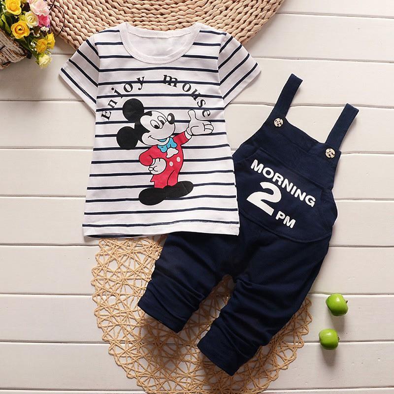 Goods 2Pcs Set Summer Baby Boys Girl Short Sleeve Stripe T-Shirts+ Pant