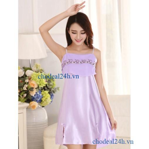 Áo Đầm Ngủ Phi Bóng Voan Ngực CDANP01 - Tím Nhạt