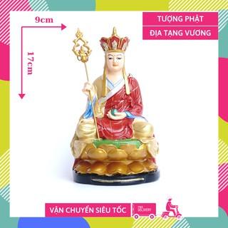 Tượng Phật Địa Tạng Vương Bồ Tát ngồi vẻ màu áo đỏ - Cao 17cm thumbnail