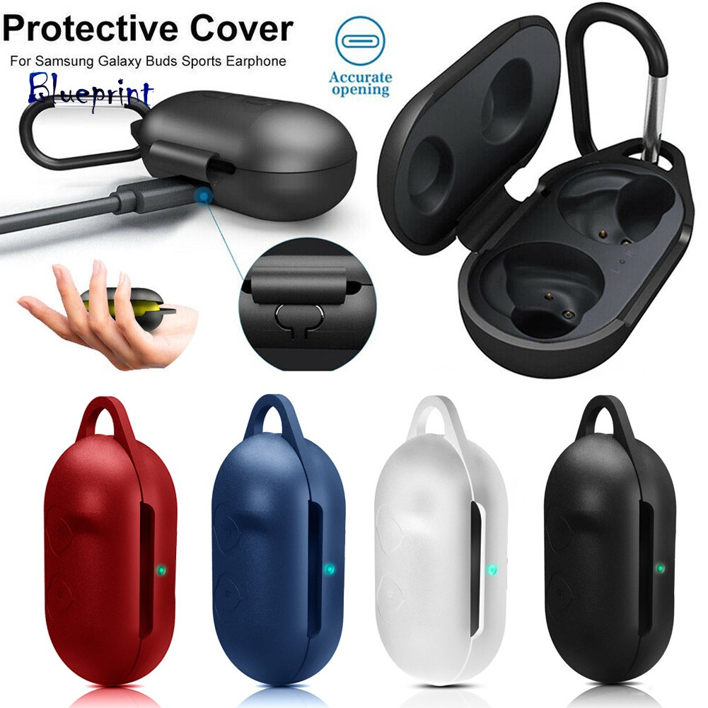 ☞BPPortable Silicone Case Cover Protector for Samsung Galaxy Buds with Carabiner