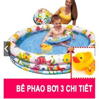 Bể phao bơi intex 3 chi tiết tặng 1 bộ vịt thả bồn tắm bé yêu