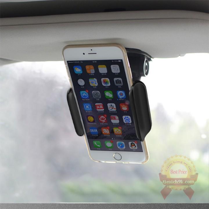 Giá đỡ điện thoại ô tô thông minh kẹp gắn Tấm che nắng xoay dọc ngang linh hoạt