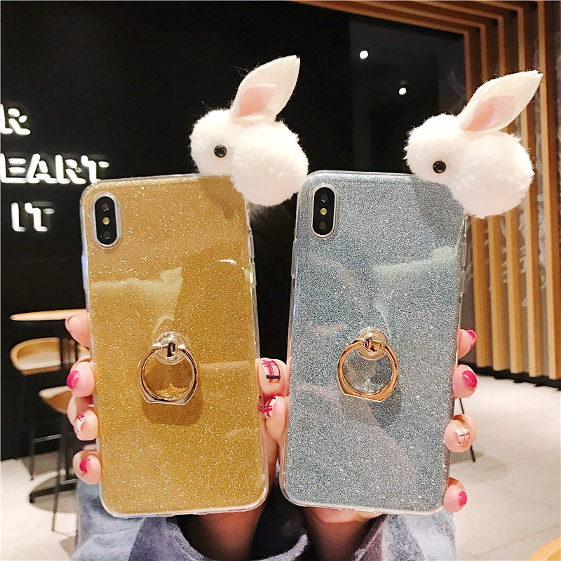 Phone XS Max/XR/XS/X/8&7&6&6S Plus/8/7/6S/6/5C/SE/5S/5 Soft Glitter Small Rabbit Motif