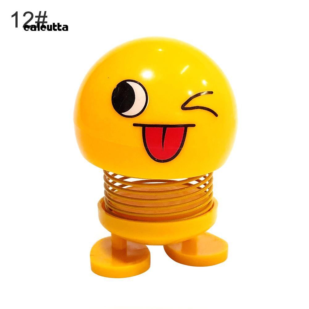 ◕‿◕Cute Cartoon Funny Emoji Shaking Head Toy Car Dashboard Bobblehead Doll Ornament