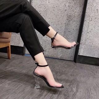 Giày sandal cao gót quai trong gót YS trong 9p bít gót hàng hot
