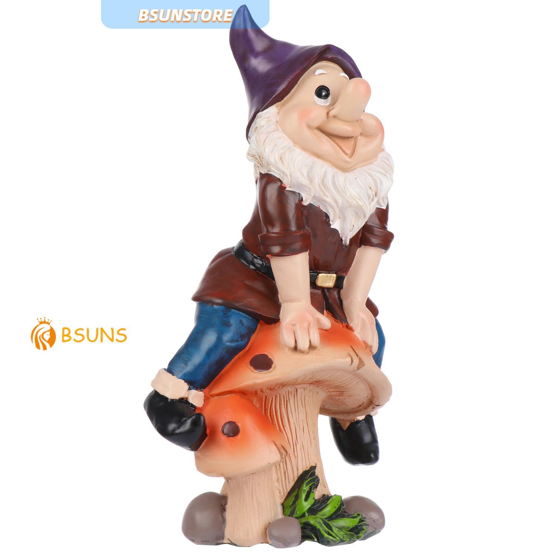 『BSUNS』 Funny Gnome Statue Outdoor Courtyard Lawn Figurine Dwarf Ornament Garden Resin Cartoon Decoration Sculpture