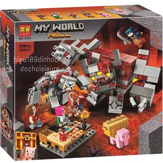 Lắp ráp xếp hình non Lego Minecraft 21163 my world lari 11514 : Cuộc chiến địa ngục đá đỏ 528 mảnh